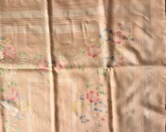 Vintage Peach Color Linen Tablecloth With A Floral Design Enhancement