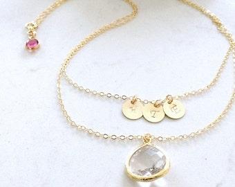 Layered Monogram Necklace 14k Gold Filled  initials necklace letter necklace crystal gemstone personalized necklace monogram letter jewelry