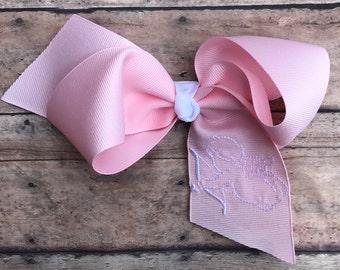 Valentine hair bow, cupid hair bow, big girl valentine hairbow, embroidered hair bow, valentine hair clip