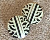 Midcentury style stud earrings mod design new age pattern black gold cloisonne enamel studs ivory white 1980