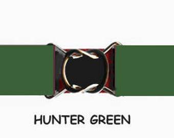 STRETCH-ELASTIC-BELT - Hunter Green * 3-Sizes for Kids & Adults *  Adjustable on Both Sides