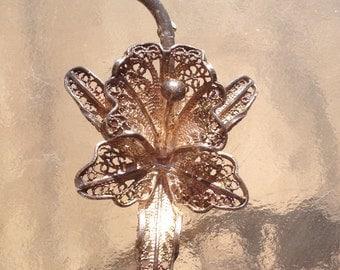 Silver Flower Brooch, Silver Filigree Brooch, Wire Work Brooch, Flower Brooch, Silver Filigree Pin, Silver Filigree Flower, Orchid Lily Pin