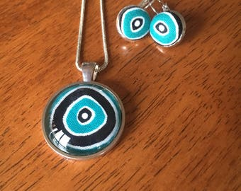 Aboriginal fabric pendant and earrings set