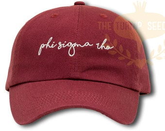 Phi Sigma Rho Handwriting Script Sorority Baseball Cap - Custom Color Hat and Embroidery
