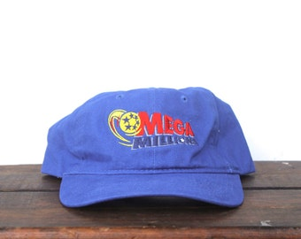 Vintage 90's Mega Millions Lottery Powerball Unstructured Strapback Hat Baseball Cap