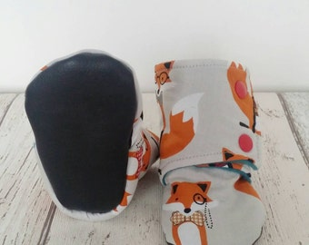 Fox bootees, pram slippers, fox, baby gift, baby shoes, uk seller