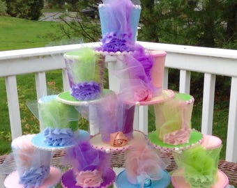 "Mad Hatter Tea Party Decorations or Favors - Set of 10 Felt Hats in Light Colors/Pastels - Alice in Wonderland Birthday (3.5"" Tall)"