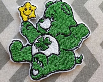 Care Bear Good Luck Bear Teddy Bear Iron on No Sew Embroidered Patch Applique
