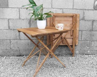 Rustic Folding Small Trestle Table 1940s Pine Patio Garden