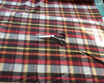 Classic Tartan Style Check Blanket Fabric - Brushed Cotton - per Metre - CLEARANCE - Reds and Yellows