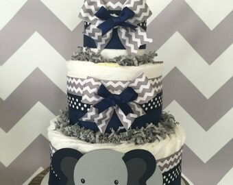 Chevron Elephant Diaper Cake in Navy and Gray Chevron