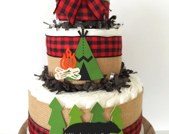 little lumberjack diaper cake cabin fever baby shower centerpiece woodland baby shower decorations