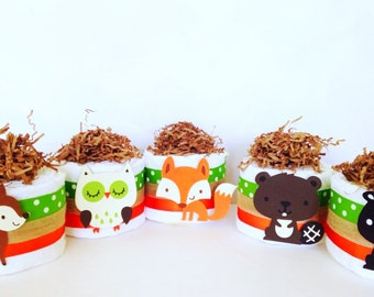 Set of Five Mini Woodland Theme Diaper Cakes, Woodland Theme Baby Shower Centerpieces, Baby Boy