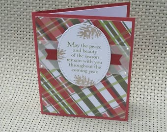 Hand Stamped Christmas Card, Plaid with Pinecones