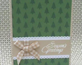 """Hand Stamped Christmas Card, Tree Background - """"Season's Greetings"""""""