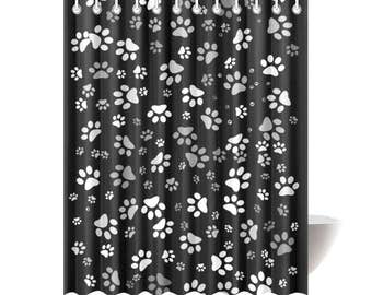 Shower Curtains Paw Print Black Printed Polyester Dog