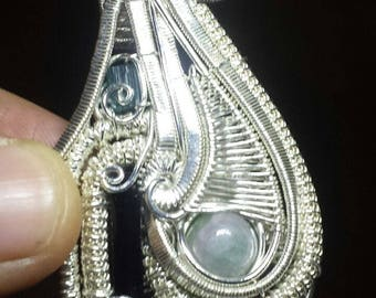 137 Cts Sterling Silver Wire Wrap Pendant Tourmaline Handmade