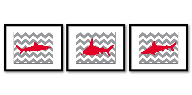 Shark Animals Art Prints Grey Gray Red Chevron Set of 3 Sharks Boys Art Nursery Art Nursery Print Ch
