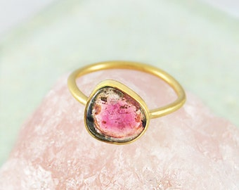 Tourmaline Ring, Watermelon Tourmaline, Clear Pink Stone, Green Gemstone, Gold Ring, Gold Statement Ring, Round Ring, Fine Jewellery, Gifts