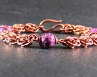Copper Chainmaille Bracelet - Copper Chain Bracelet - Women's  Copper Bracelet - Copper Bracelet for women - Sweet Pea Bracelet