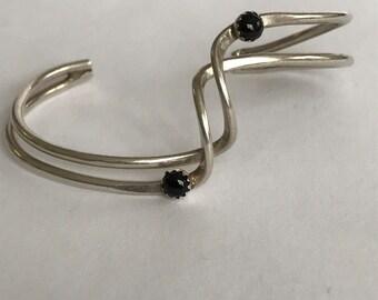 Navajo Onyx Sterling Cuff Bracelet Grace Smith 925 Silver Petit Point Vintage Southwestern Jewelry Native Birthday Mother's Gift