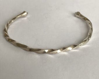 Navajo Sterling Cuff Bracelet Twisted 925 Silver Vintage Jewelry Native Boho Holiday Birthday Mother's Anniversary Graduation Gift Woven