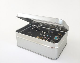 Small Tin Box - Silver Tin Box - Earring Travel Organizer - 3x5 Size