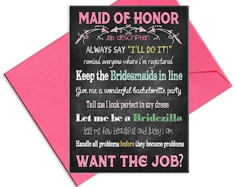 Maid of Honor Card Will You Be My Maid of Honor  Job Description for Maid of Honor