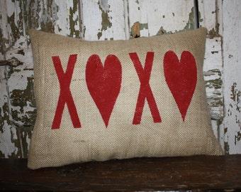 Valentine Pillow,  Valentine, Burlap, Canvas Pillow Cover, Throw Pillow
