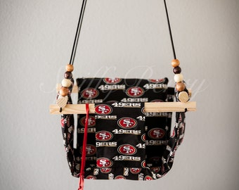 San Francisco 49ers Baby  Fabric Swing. Indoor / Outdoor Baby Todler Swing.Baby Swing Chair. Toddler Indoor Outdoor Canvas