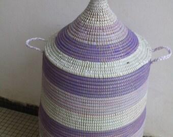 Purple, Lilac Storage Basket, Hamper for 2-3 people, African, Senegalese Art, Home decor, violet