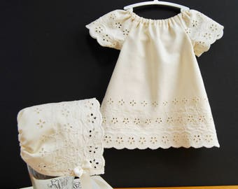 Eyelet Baby Dress and Bonnet, Upcycled Newborn Dress, Christening Dress, Baby Bonnet, Ivory Eyelet Baby Dress, Baby Photo Prop, Baby Shower