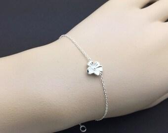 Dainty All Sterling Silver flower Bracelet , cherry blossom, love bracelet, friendship bracelet, family bracelet, christmas gift