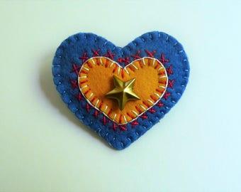 Patriotic Brooch, Patriotic Pin, Red White and Blue Star Heart Pin Brooch, Felt Pin, Felt Brooch, USA Pin, USA Brooch, Independence Day Pin