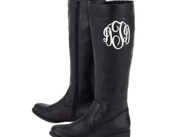 Monogrammed Faux Leather Boots in Black