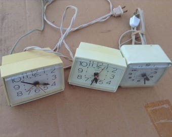 Two Westclox Art Deco Square Desk-Top Alarm Clocks Plus One General Electric Alarm Clock. Vintage 1960's, 1970's.Made in the USA.