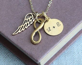 Wing Necklace, Angel Wing Necklace, Angel Necklace, Memory Necklace, Gold Necklace, Personalized Necklace, Monogram Necklace, Gift for Her