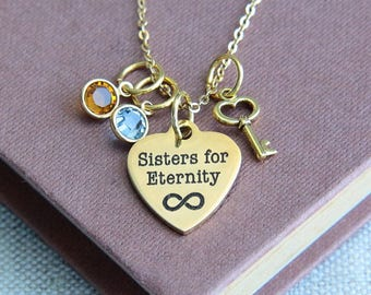 Sisters Necklace, Sisters for Eternity Necklace, Sisters Jewelry, Gold Necklace, Quote Necklace, Gift for Sister,Birthstone Necklace for her