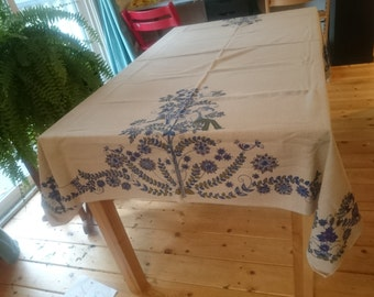 Vintage Almedahls tablecloth, figgjo, lotte, swedish, mid century, retro, linen