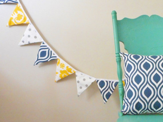 Navy and Yellow Bunting / Mantle Banner / fabric garland / Banner / flags / decorative pennants / home decor / party banner / polka dot