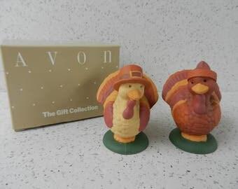 Avon Turkey Twosome Thanksgiving Salt and Pepper Shakers, With Original Box, Fall Decor