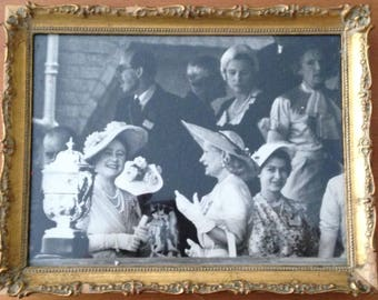 QUEEN ELIZABETH II Framed Black and White Photo Vintage 1950's England Royals Queen Mother