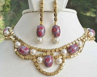 Exquisite, Violet, Fuchsia, & Pearl Fashion Necklace Set