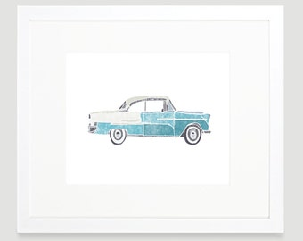 Vintage Car Print - Mustang- Digital Download - Wall Art - Baby Boy Nursery - Toddler Art - Cars Nursery Art - Kids Wall Art