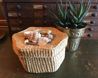 Shell Encrusted Seagrass Box Basket Vintage