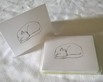 """Sleeping Cat """"Naptime"""" by J. Renner Boxed Set of 5 Black and White Blank Notecards w/Envelopes-Free US Shipping"""