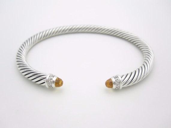 NEW David Yurman Sterling Silver Diamond 5mm Citrine Cable Cuff Bracelet - Medium