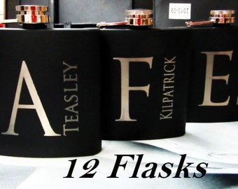 Set of 12 Personalized Flasks // Great Gift for Asking:  Will You Be My Groomsman, Bridesmaid, Best Man, Maid of Honor // FREE ENGRAVING