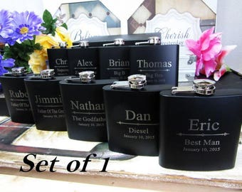Custom Groomsman Gifts, Personalized Flasks, Gifts for Groomsmen, Best Man Gift, Set of 1, Black and Silver Wedding, Groomsman Gift Flask