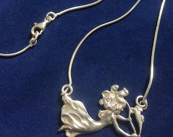 Vintage Sterling Silver Art Nouveau Style Necklace